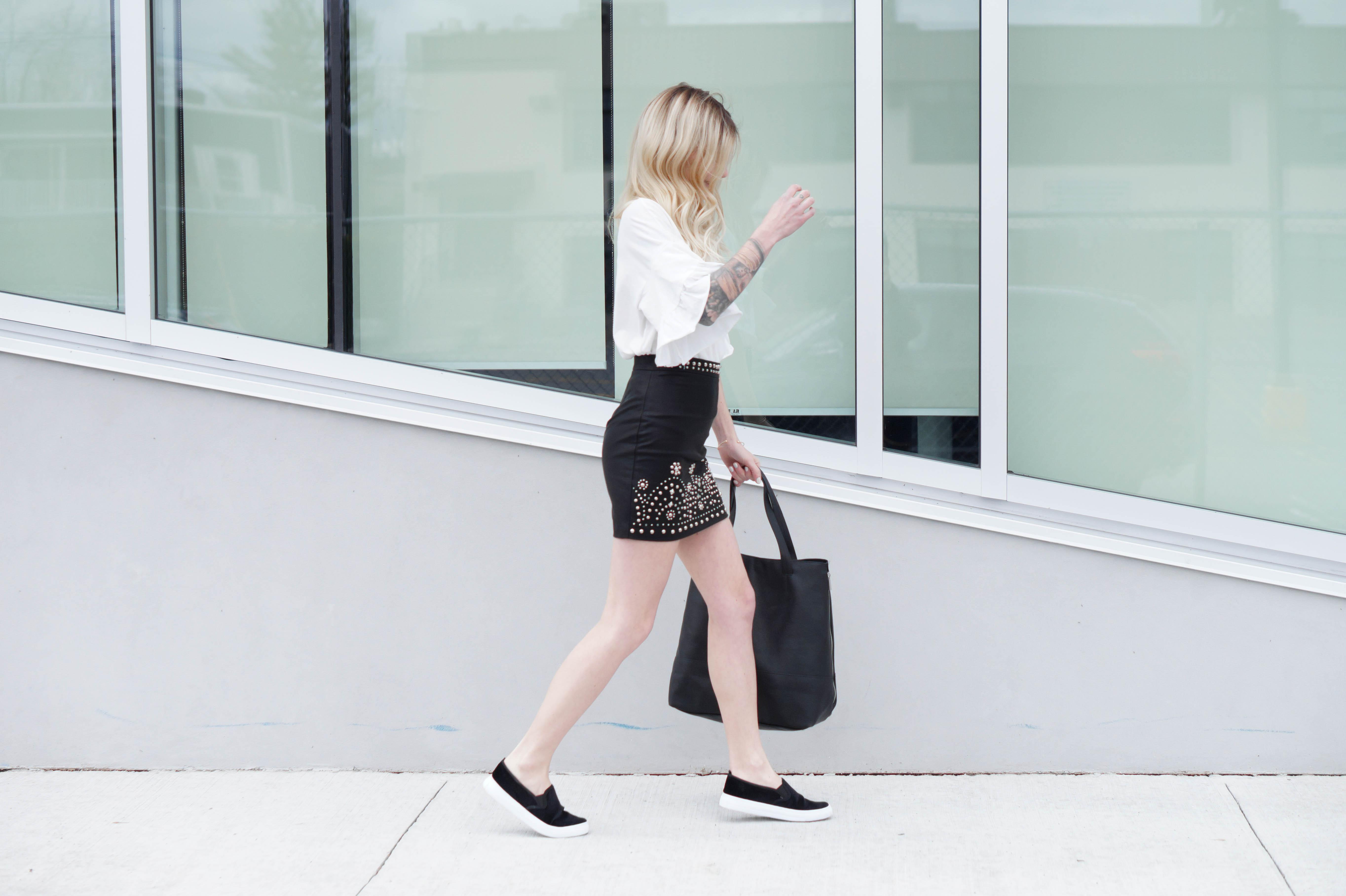 Skirt + Slip-ons