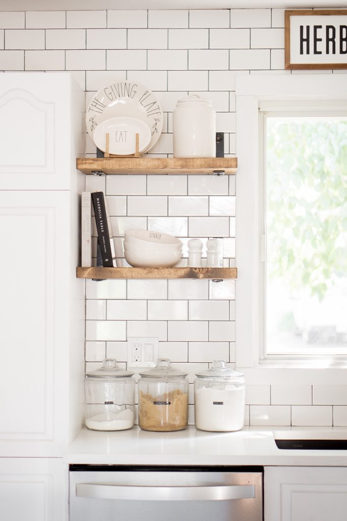 modern farmhouse open shelving