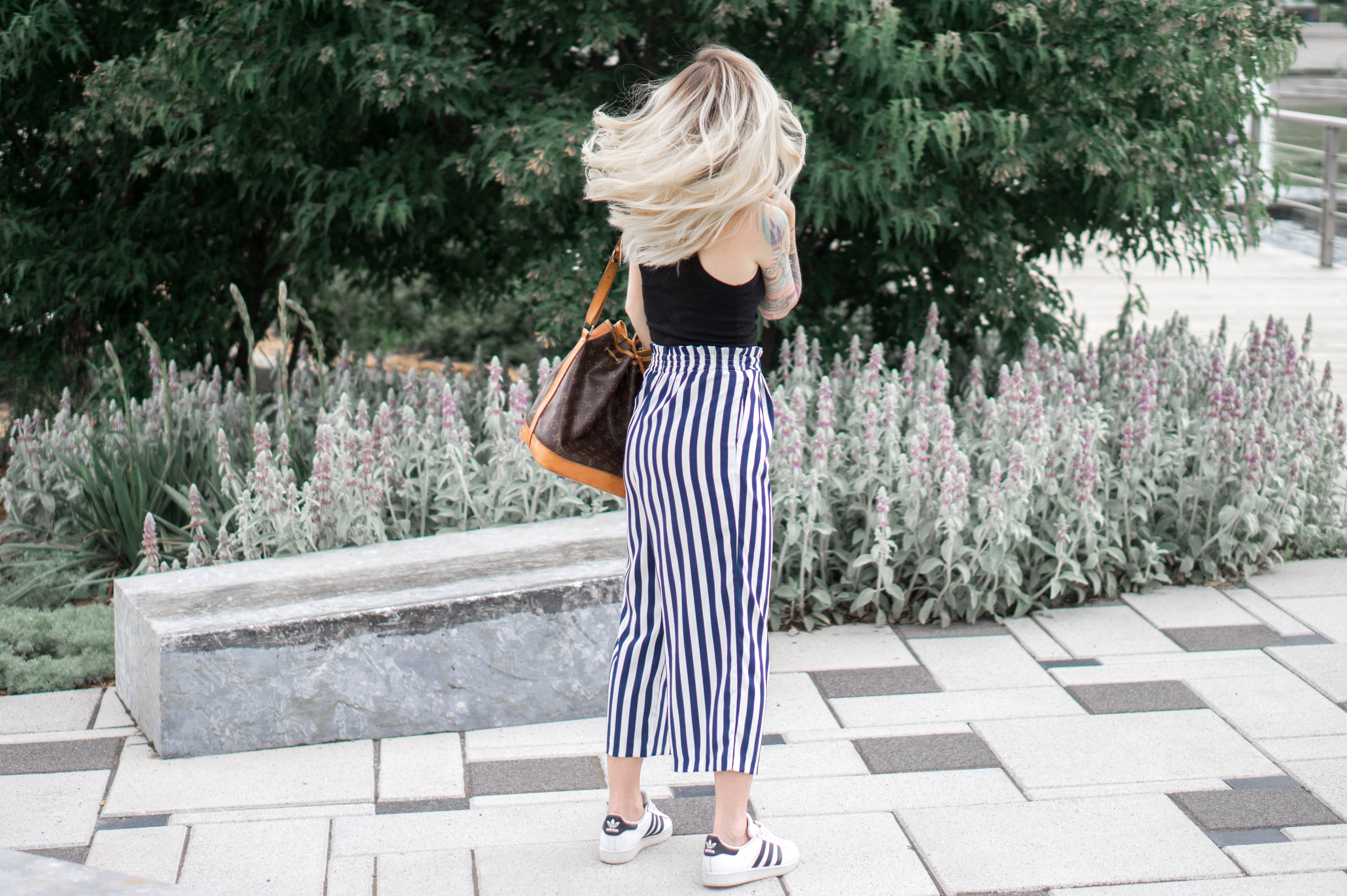 Striped culottes + crop top